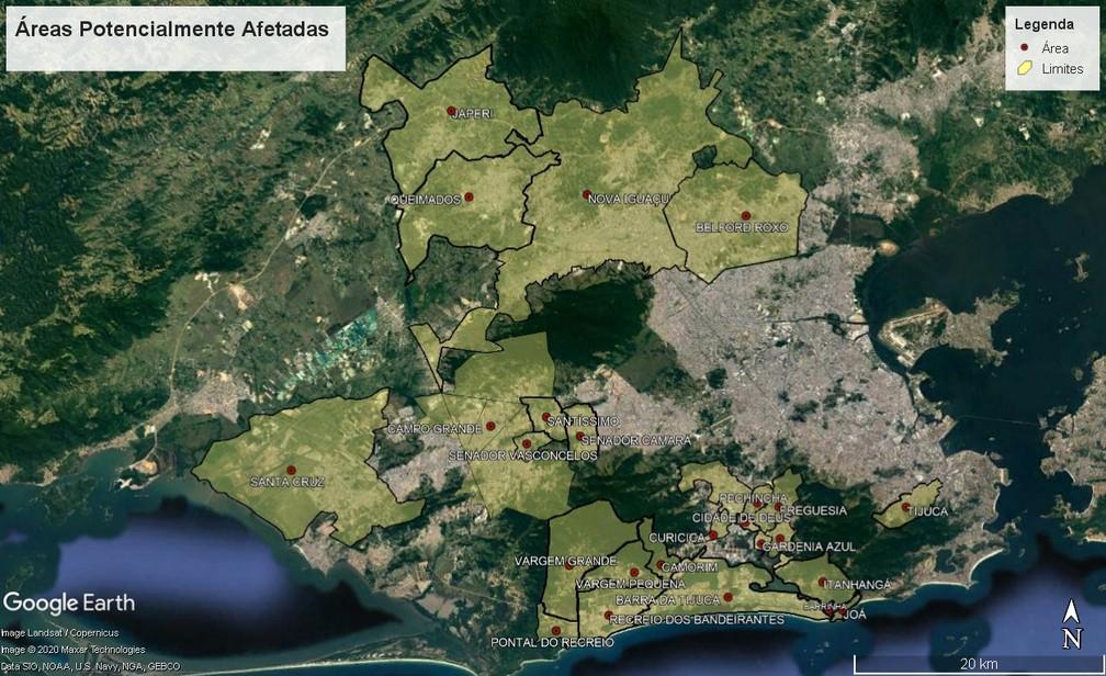 Cedae vai divulgar, diariamente, a partir desta terça-feira (1°), quais bairros podem sofrer com desabastecimento de água. — Foto: Reprodução / TV Globo