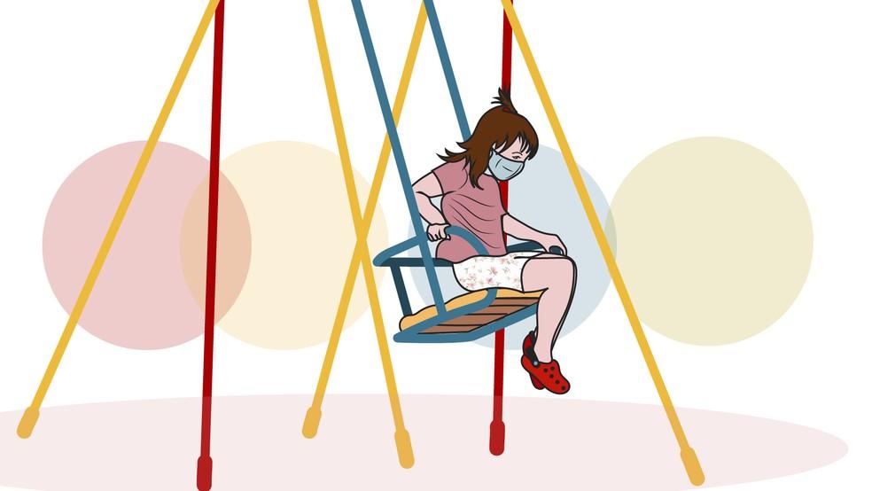 Ilustração criança brincando com máscara