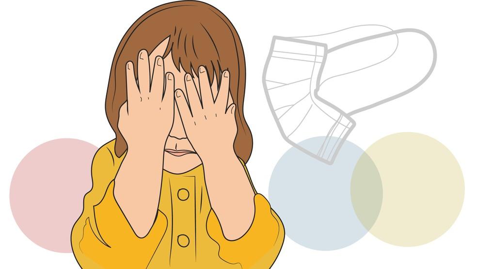 Ilustração criança com a mão no rosto