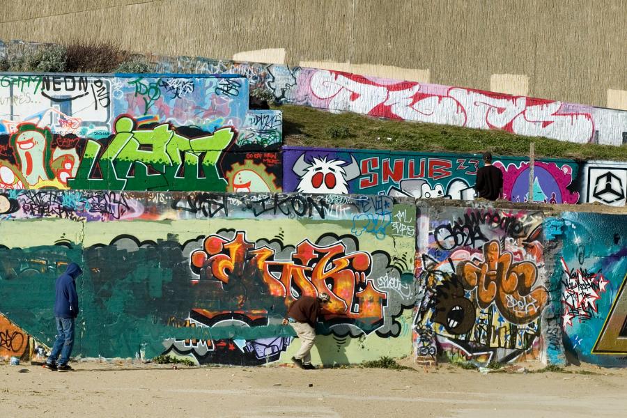 Muro com grafite